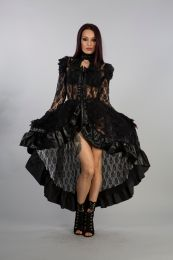 Queen victorian gothic jacket in black lace with black matt frills. Zip front opening  with matt detail.