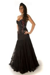 Rara long gothic skirt in black satin and black mesh overlay