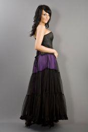 Rara long victorian skirt purple cotton and black mesh overlay