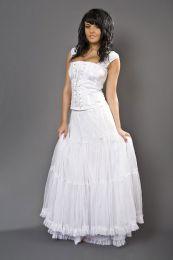 Rara long victorian skirt white in cotton and white mesh overlay