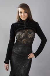 Raven gothic bolero jacket in black velvet flock