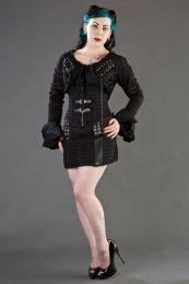 Razor black and red striped underbust corset