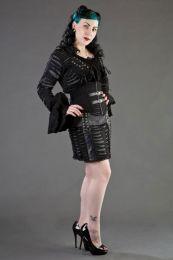 Razor black and white striped underbust corset