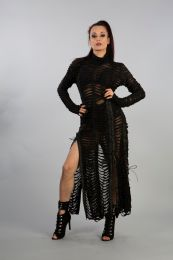 Razor long sleeve maxi dress in slashed effect black cotton and black mesh underlay. Look amazing in this slinky splits dress.