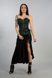 Reversible steampunk zip overbust corset in green scroll and black twill.