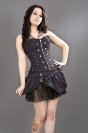 Rock overbust black and purple striped corset with studs
