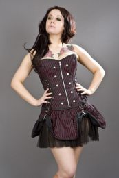 Rock overbust black and red striped corset