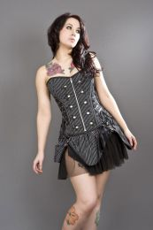 Rock overbust black and white striped corset with studs