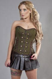 Rock overbust corset in olive green and brown twill
