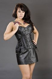 Rock overbust corset with front zip in black matte vinyl