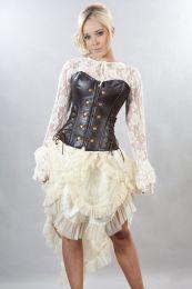 Rock overbust corset in brown matte vinyl
