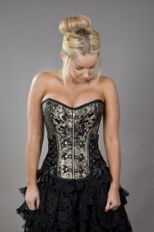 Rock overbust corset with studs in gold king brocade