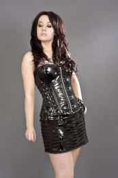 Rock overbust punk rock corset in black PVC