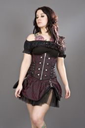 Rock underbust black red striped corset with studs