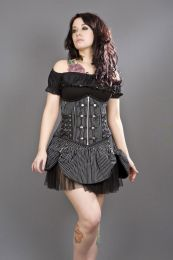 Rock underbust black white striped corset with studs