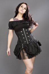 Rock underbust corset with studs in black twill