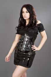 Rock underbust waist cincher corset in black PVC