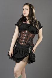 Rock underbust waist cincher corset in brown satin