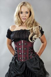Rock underbust waist cincher corset in burgundy taffeta