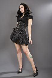 Rock underbust waist cincher corset in pinstripe