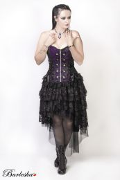 Rock overbust corset with studs in purple king brocade