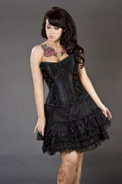 Romance burlesque mini skirt with black rose detail