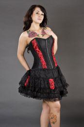Romance black burlesque mini skirt with red rose detail