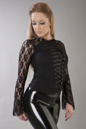 Sarah ladies gothic top in black lycra and lace overlay