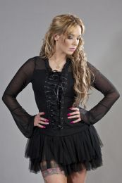 Sarah gothic top in black lycra and black mesh overlay
