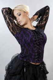 Sarah long sleeve top in purple lycra and black lace overlay