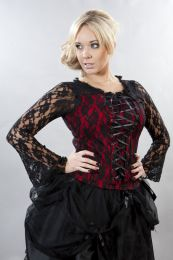 Sarah long sleeve gothic top in red lycra with black lace overlay