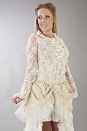 Sarah long sleeve victorian top in cream lycra and cream lace overlay