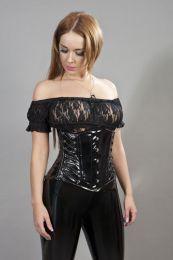 Scarlet underbust steel boned corset in black PVC