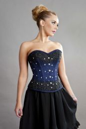 Sedona steel boned overbust corset in navy blue taffeta and black mesh overlay