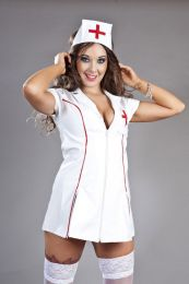 Nurse fancy dress costume in white PVC