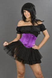 Sexy waspie hook and eye underbust corset in purple satin