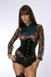 Sexy waspie waist cincher in green velvet