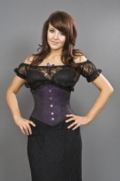 Sexy waspie waist cincher in purple brocade