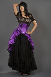 Sexy waspie waist cincher in purple satin with black piping
