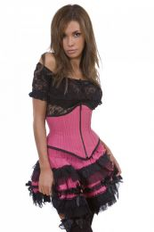 Sexy waspie waist cincher with zip in neon pink pinstripe