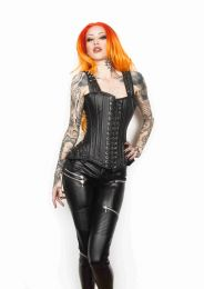 Takara overbust corset with straps in black matte vinyl and silver spikes