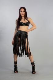 Shredder knee length fringe skirt in black matte