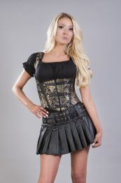 Sienna underbust corset with shoulder straps in king gold brocade
