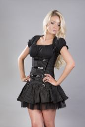 Sienna underbust corset with shoulder straps in pinstripe