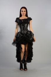 Sinister  under bust halter corset dress in black imitation leather. Short front, long back. Shoulder straps, rear lace fastening and beautiful lace and mesh details. Simply stunning!