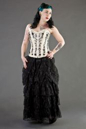 Soiree overbust tight lacing corset in cream taffeta