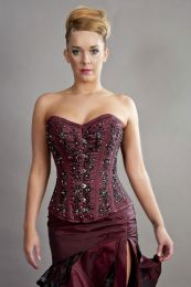 Soiree steel boned overbust corset in burgundy taffeta