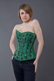 Soiree steel boned overbust corset in green taffeta