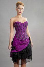 Soiree steel boned overbust corset in magenta taffeta