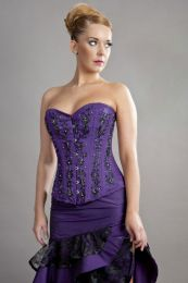 Soiree steel boned overbust corset in purple taffeta